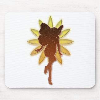 Fée orange et jaune Silouette de fleur Tapis De Souris
