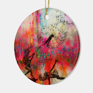 Feen, die Gänseblümchen-Samen verbreiten Keramik Ornament