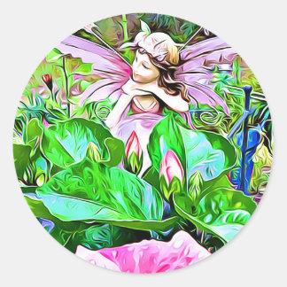 Feenhafte und rosa Hibiskus-Blumenaufkleber Runder Aufkleber