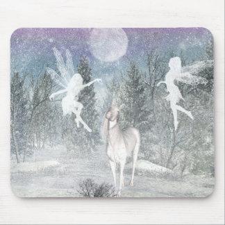 Fées d'hiver d'imaginaire et mousepad de licorne tapis de souris