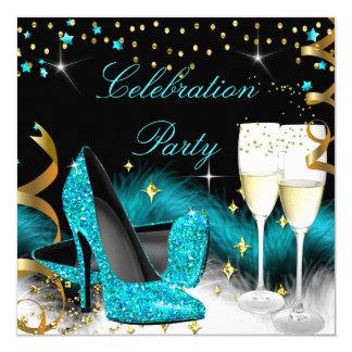Feier-Champagne-Party-aquamariner blauer hoher Quadratische 13,3 Cm Einladungskarte