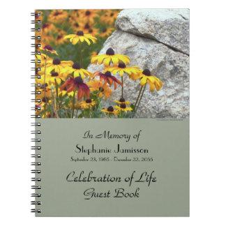Feier des Leben-Gast-Buches, gelbe Blumen Spiral Notizblock
