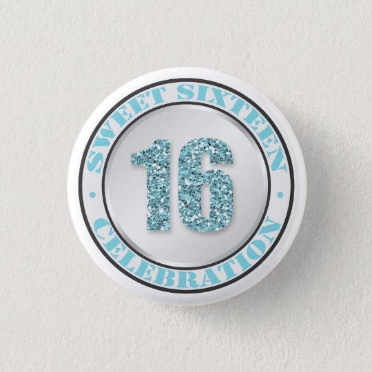Feier-Knöpfe des Glitzer-Aqua-blaue Bonbon-16 Runder Button 3,2 Cm