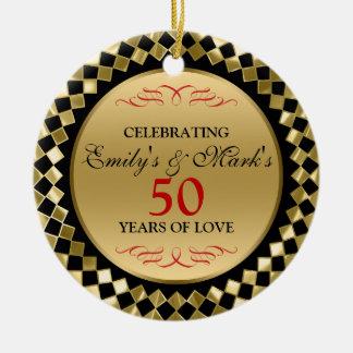 Feiern der Golddiamanten und des roten Wirbel Keramik Ornament