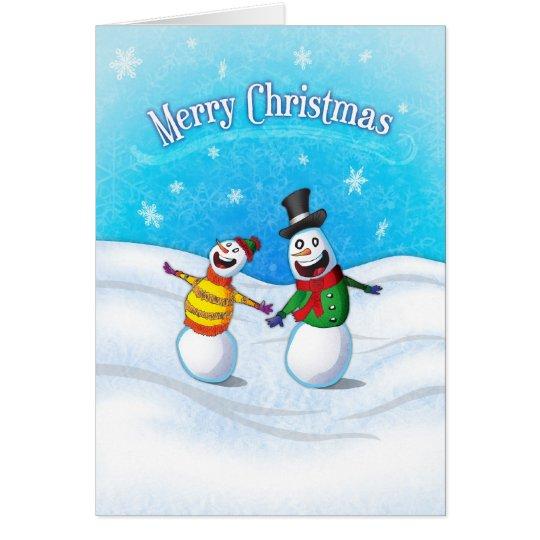 Feiern der Schneemann-frohe Weihnacht-Karte Karte