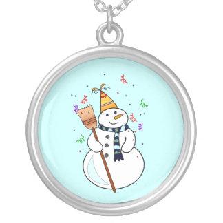 Feiern der Schneemann-Halskette Halskette Mit Rundem Anhänger