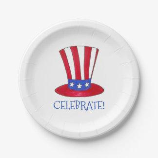 Feiern Sie am 4. Juli patriotischen Uncle Sam USA Pappteller