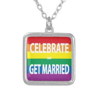 Feiern Sie und erhalten Sie, LGBT verheiratet, Halskette Mit Quadratischem Anhänger