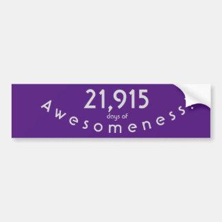 Feiern von 21.915 Tagen von Awesomeness Geburtstag Autoaufkleber