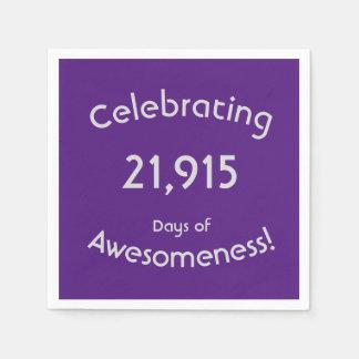 Feiern von 21.915 Tagen von Awesomeness Geburtstag Papierserviette