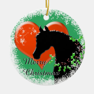 Feiertag der Herz-Pferdiii (schwarzes Pferd/rotes Keramik Ornament