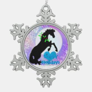 Feiertag der Herz-Pferdv (bunter Dunst) Schneeflocken Zinn-Ornament