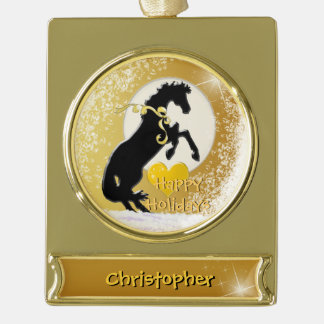 Feiertag der Herz-Pferdv (goldene Sterne) Banner-Ornament Gold