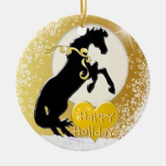 Feiertag der Herz-Pferdv (goldene Sterne) Keramik Ornament