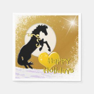 Feiertag der Herz-Pferdv (goldene Sterne) Papierserviette
