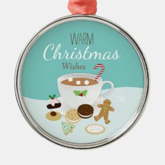 Feiertag der Weihnachtsplätzchen und der heißen Rundes Silberfarbenes Ornament