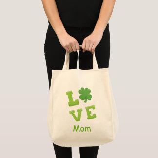 Feiertag Liebe-Mamma-Grün-Holztype-St. Patricks Tragetasche