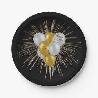 Feiertage - guten Rutsch ins Neue Jahr-Ballone Pappteller