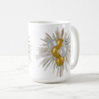 Feiertage - guten Rutsch ins Neue Jahr steigt Weiß Kaffeetasse
