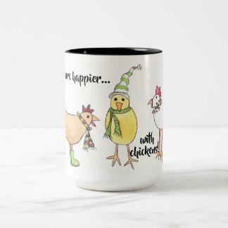 Feiertage sind mit der Huhn-Tasse glücklicher Zweifarbige Tasse
