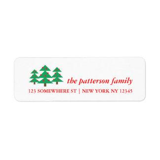 Feiertags-Adressen-Etikett Weihnachtsbäume Kleiner Adressaufkleber