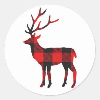 Feiertags-Aufkleber der Büffel-karierte Rotwild-| Runder Aufkleber
