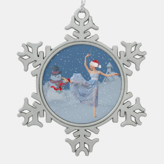 Feiertags-Ballett-Fantasie, Ballerina und Schneeflocken Zinn-Ornament