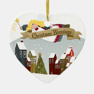 Feiertags-Baum-Verzierung des Weihnachtsengels-| Keramik Herz-Ornament