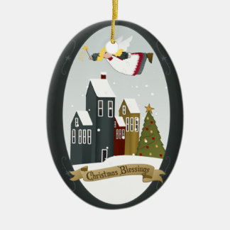 Feiertags-Baum-Verzierung des Weihnachtsengels-| Ovales Keramik Ornament
