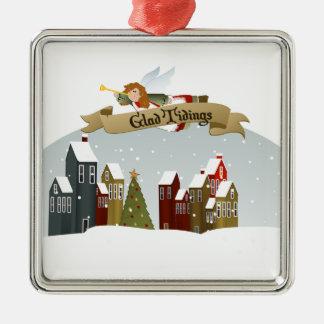 Feiertags-Baum-Verzierung des Weihnachtsengels-| Quadratisches Silberfarbenes Ornament
