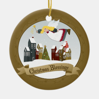 Feiertags-Baum-Verzierung des Weihnachtsengels-| Rundes Keramik Ornament