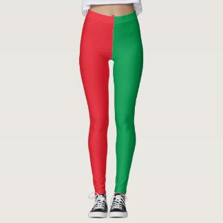 Feiertags-Elf-Kostüm rot und grün Leggings