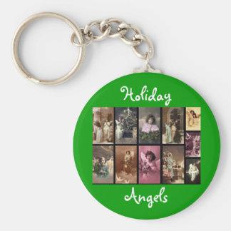 Feiertags-Engel grünes Keychain - kundengerecht Schlüsselband