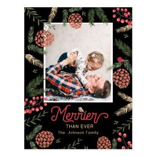 Feiertags-Foto-Karte des Kiefern-Kegel-| der Postkarte