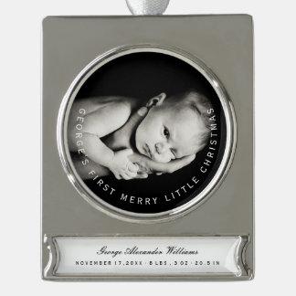 Feiertags-Foto-Verzierung des Babys erste Banner-Ornament Silber