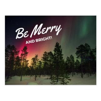 Feiertags-fröhliche u. helle Nordlicht-Postkarte Postkarte