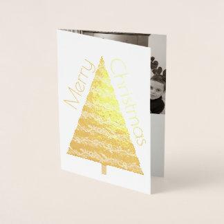 Feiertags-Goldbaum-frohe Weihnachten addieren Ihr Folienkarte
