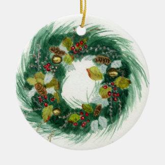 Feiertags-Kranz Rundes Keramik Ornament