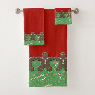 Feiertags-Lebkuchen-Männer rot und grün Badhandtuch Set