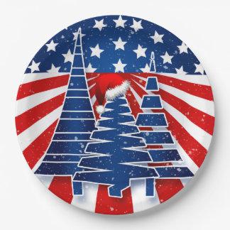 Feiertags-Party-patriotisches Weihnachtsbaum-Thema Pappteller