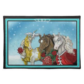 Feiertags-PferdeTischset Stofftischset