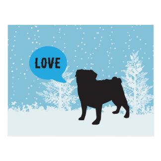 Feiertags-Postkarten - Mops Postkarte