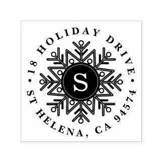 Feiertags-Schneeflocke-Monogramm-Rücksendeadresse Permastempel