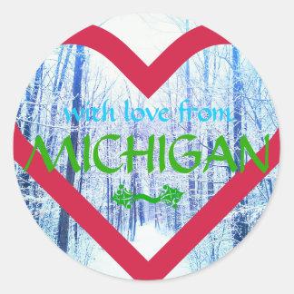 Feiertagsentwurfs-Michigan-Aufkleber Runder Aufkleber