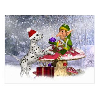 Feiertagskarte mit dalmatinischem Welpen und Elf Postkarte