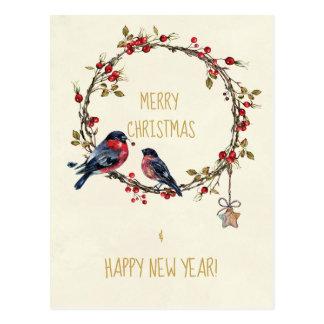 Feiertagskartenvogel-Stechpalmenbeeren der frohen Postkarte