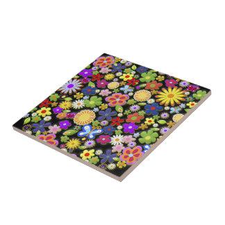 Feine coole Blumen-niedliches Girly Retro Blumen Kleine Quadratische Fliese
