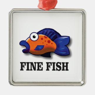feine Fische ja Quadratisches Silberfarbenes Ornament