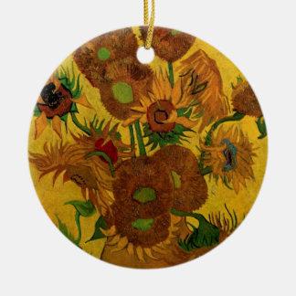 Feine Kunst-Blumen Van Gogh, Vase mit 15 Rundes Keramik Ornament