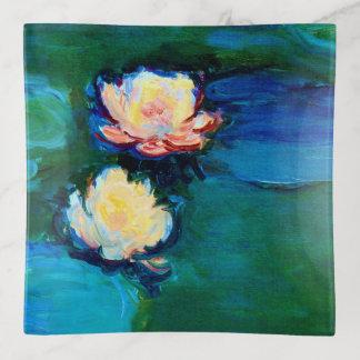 Feine Kunst zwei Wasser-Lilien-Blumen-Claudes Dekoschale